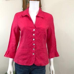 Talbots Irish Linen Size 8 Blouse Pink Button Down
